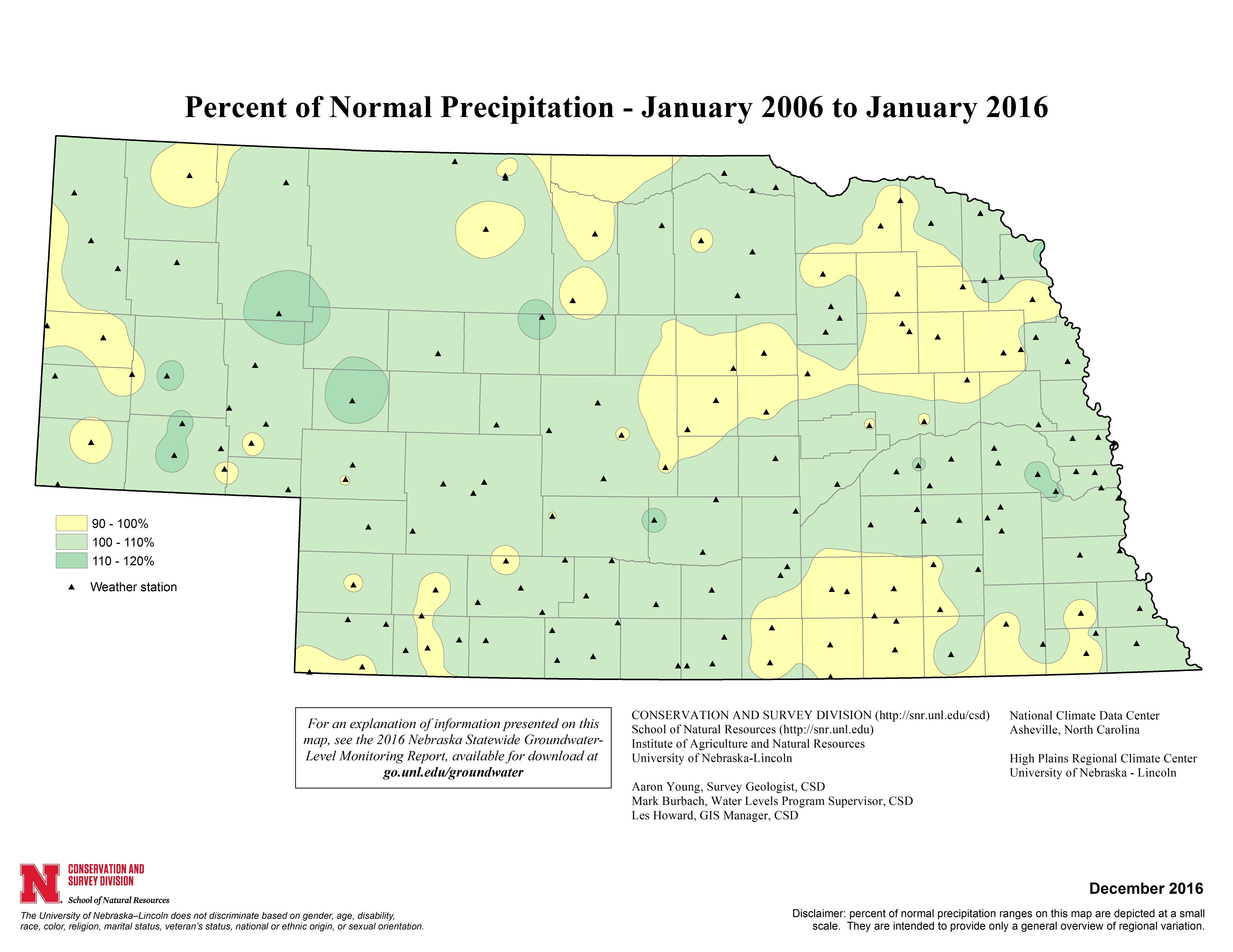 Percent of Normal Precipitation, January 2005 - January 2015