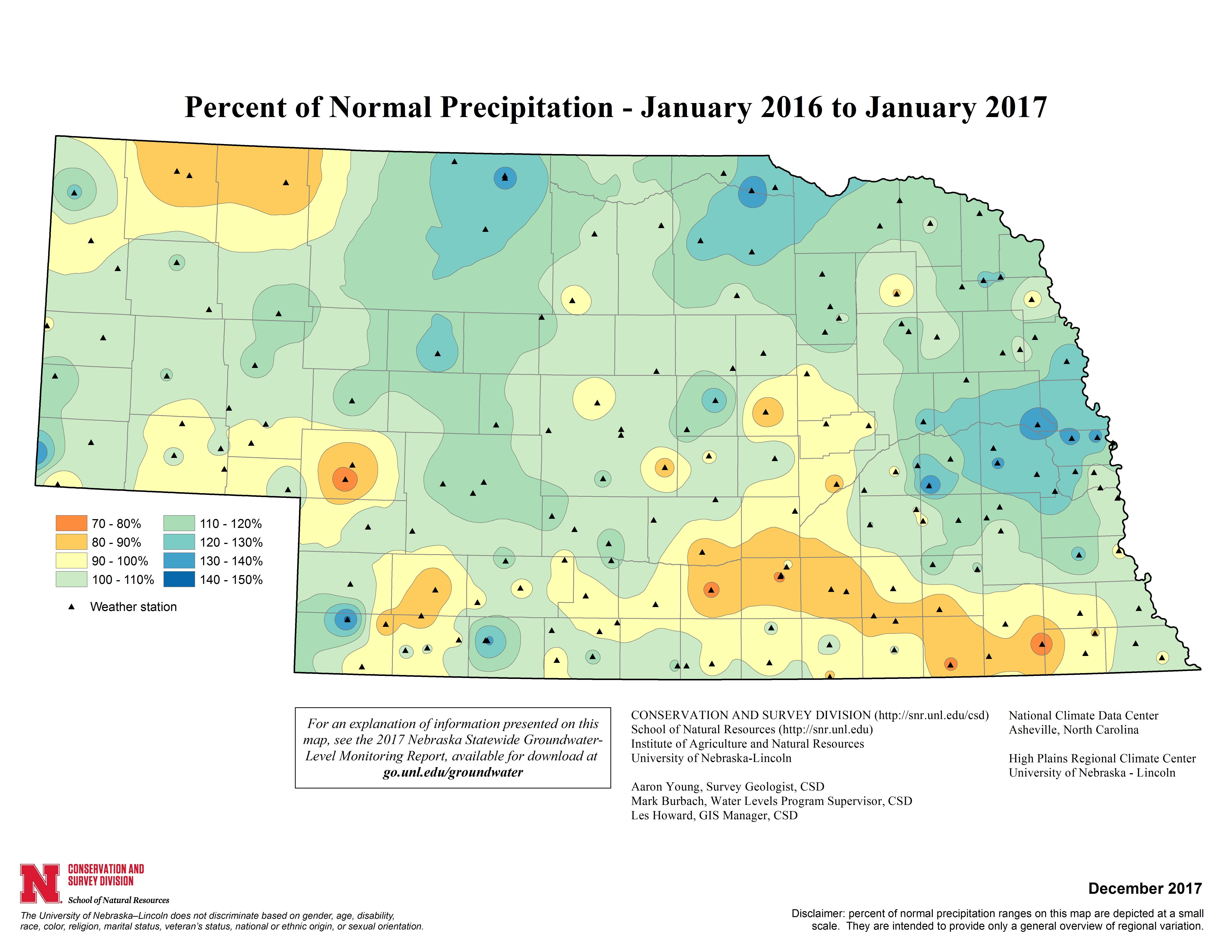 Percent of Normal Precipitation, January 2016 - January 2017