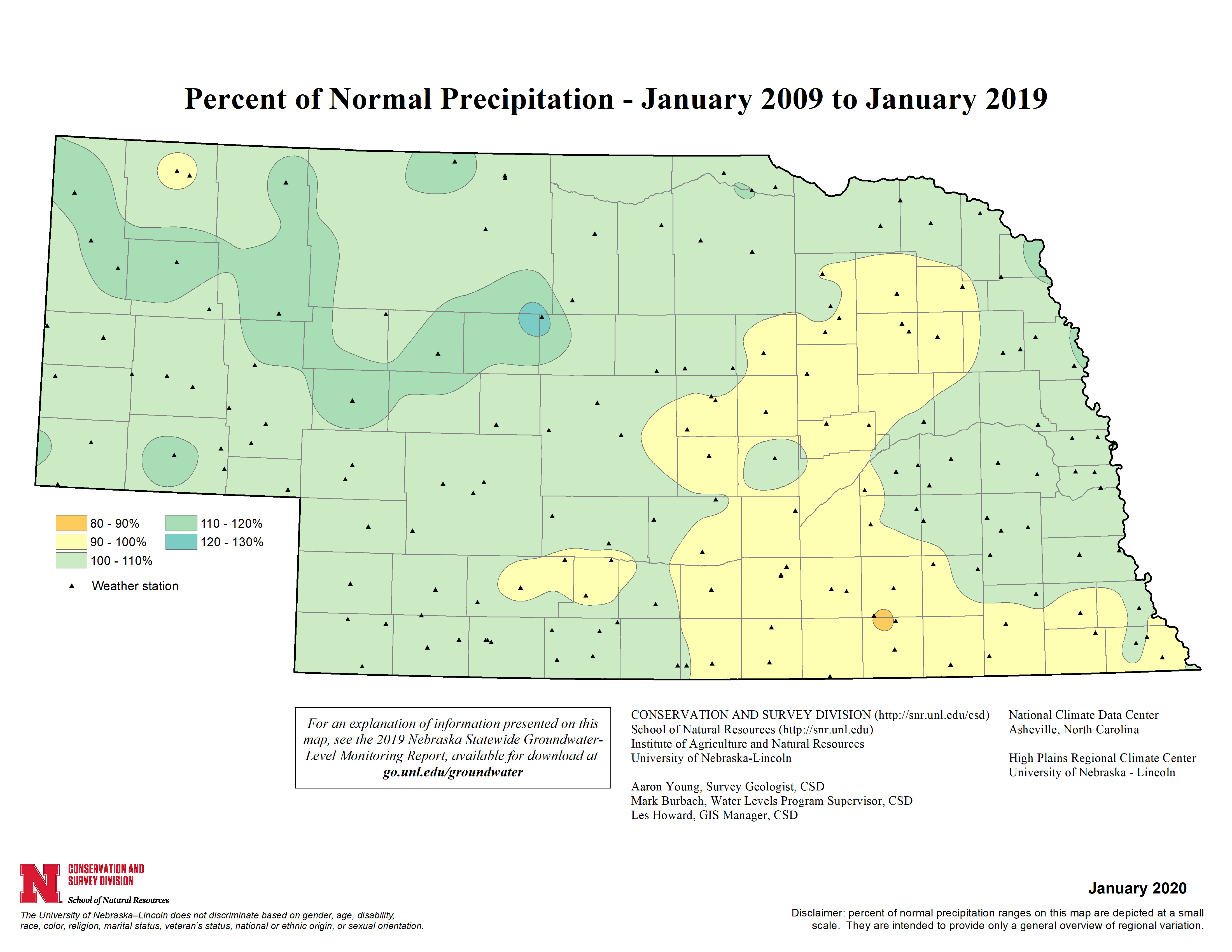 Percent of Normal Precipitation, January 2009 - January 2019