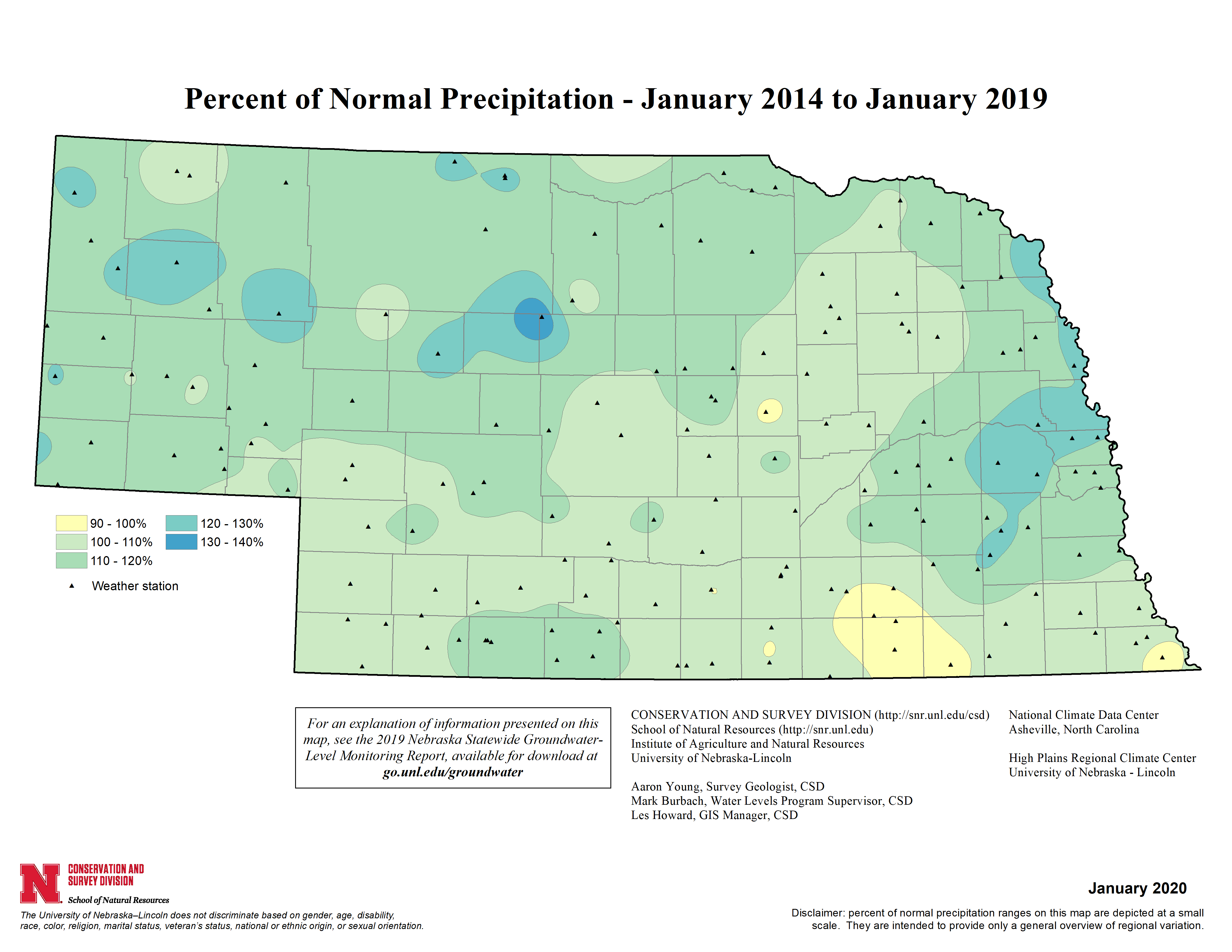 Percent of Normal Precipitation, January 2014 - January 2019