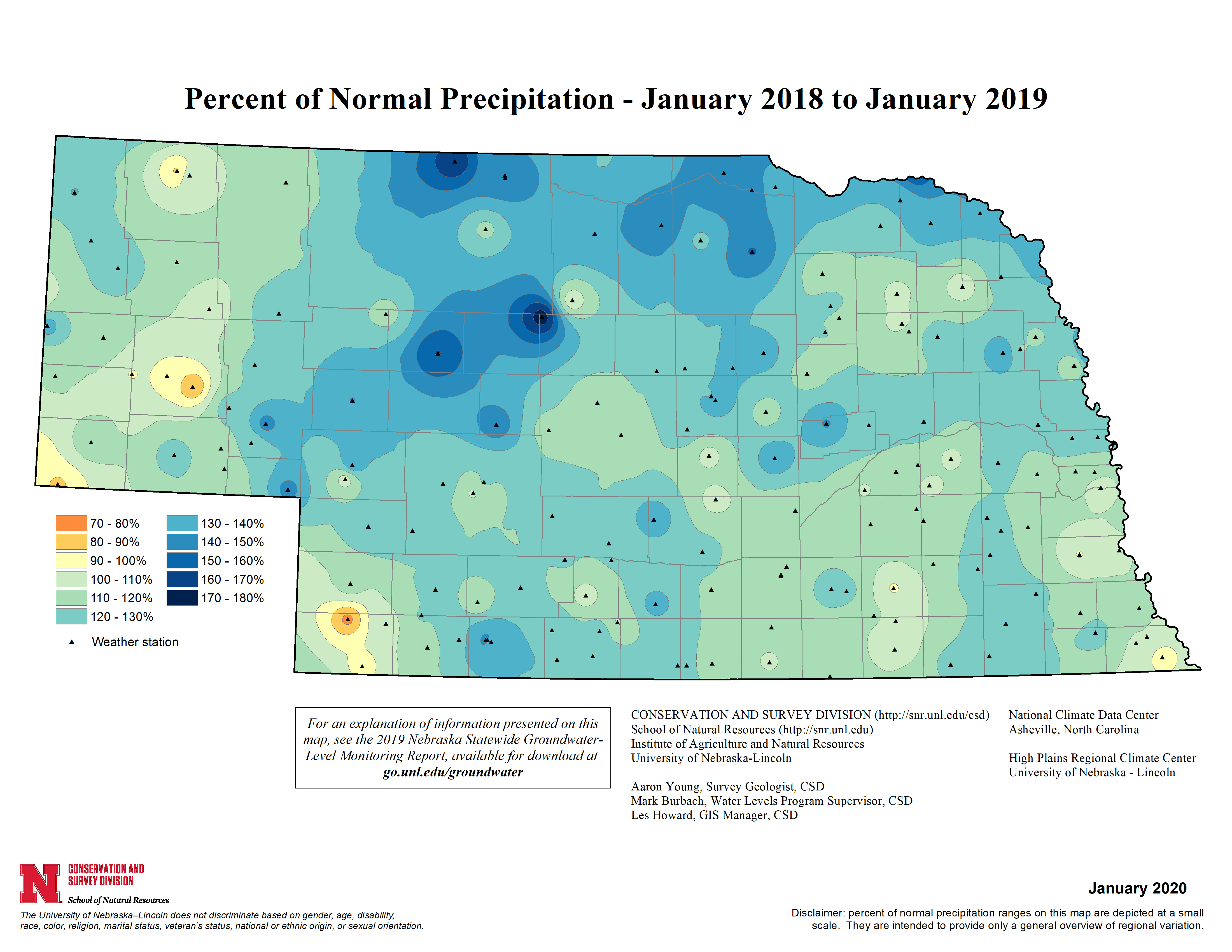 Percent of Normal Precipitation, January 2018 - January 2019