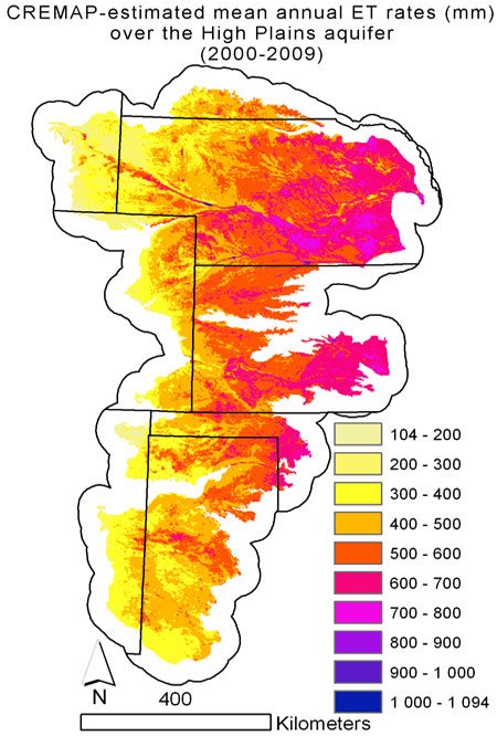 CREMAP (Calibration-free evapotranspiration mapping) is a novel ET estimation method that uses MODIS satellite information and some widely available meteorological data to map ET rates at about 1-km resolution in 8-day or monthly periods. Recently it has also been applied to a) map recharge rates to the groundwater in the Sandhills of Nebraska and in the Danube-Tisza interfluvial sand plateau region of Hungary; b) map recharge and surface runoff across Nebraska; c) derive recharge rates as a function of depth to the groundwater in the Platte River valley; d) map ET rates in Burkina Faso and across Hungary; e) identify changes in the hydrological cycle due to irrigation, land use/land cover change across the entire Republican River basin.