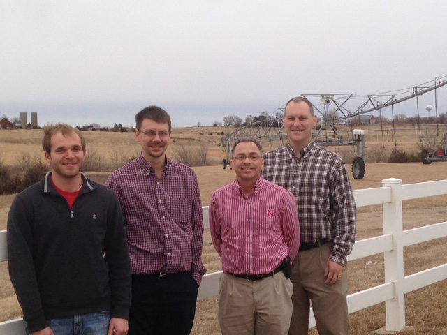 Michael Hayes, along with Dr. Brian Wardlow (SNR), Dr. Derek Heeren (Biological Systems Engineering), and Keith Miller (BSE graduate student), following a visit to the Reinke Irrigation Manufacturing Company located in Deshler, NE, in January 2014.