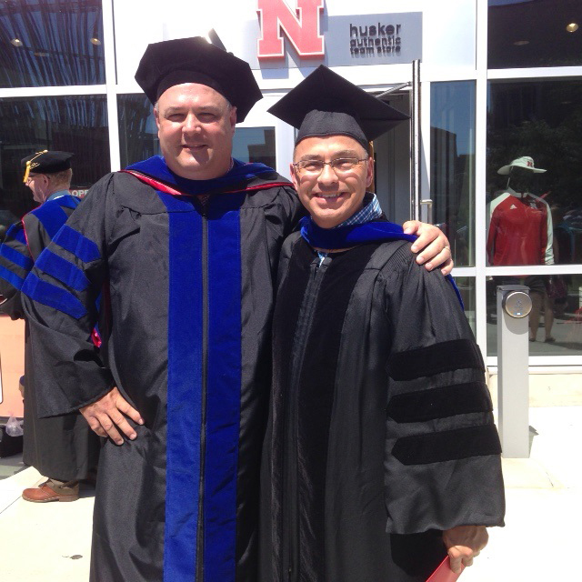 Mark Svoboda and Michael Hayes following the graduation ceremony for Dr. Svoboda's Ph.D. degree in August 2016.