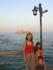 Ayse Irmak and family in 2009 at the castle of Kizkalesi (Corycus). The castles was built  in the 12th century.