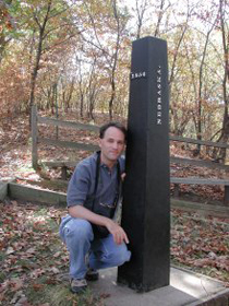 RMJ in southeasternmost Richardson County at the original boundary marker between the Kansas and Nebraska territories, established in 1854.  Pennsylvanian strata in the immediate area include fluvial-estuarine sediments with thin coals, in which early settlers had great (but misplaced) hopes for economic development