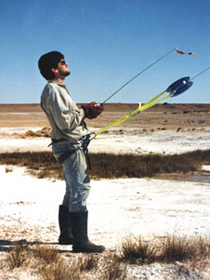 Drew Tyre flies an aerial camera mounted on a kite to observe lizard habitat in South Austrialia.