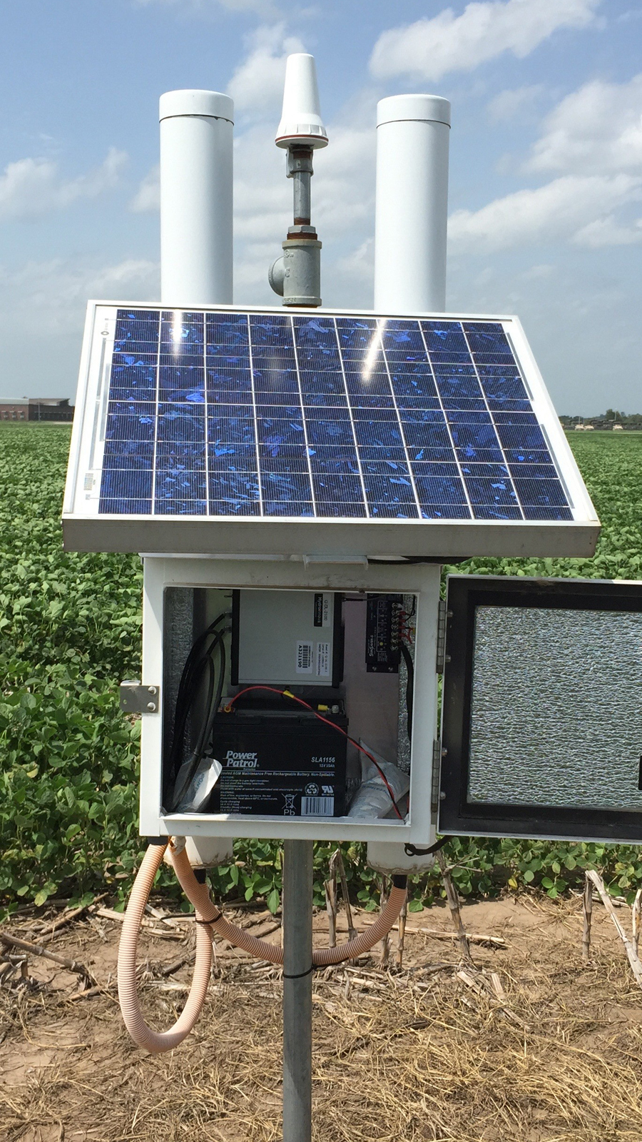 The COSMOS (COsmic-ray Soil Moisture Observing System) soil moisture sensor that measures soil moisture over a 700 m diameter area to a depth of up to 50 cm at the rainfed Carbon Sequestration field site.
