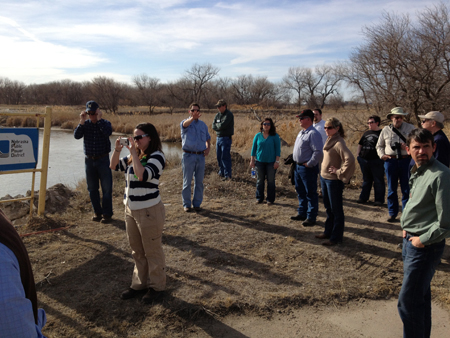 JoLeisa Cramer, with camera, assists with a Water Leaders Academy tour of a Platte River Recovery Implementation Program project