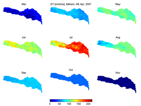 The distribution of ET over the Elkhorn watershed in a wet (2007) year.