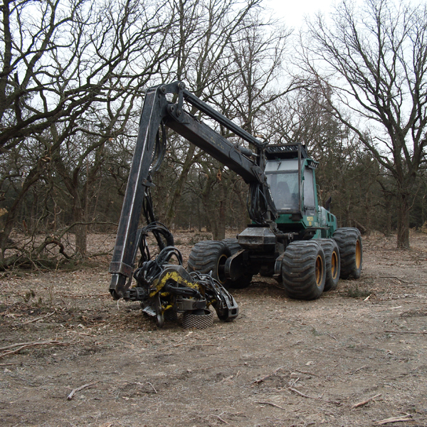 Timberjack Harvester used by private loggers to remove encroaching eastern redcedar trees and restore oak woodlands.
